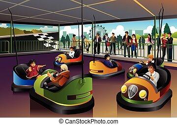 car, tema, crianças, parque, tocando