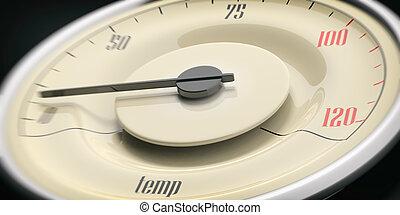 Car temperature. Vintage car gauge closeup detail on black background. 3d illustration