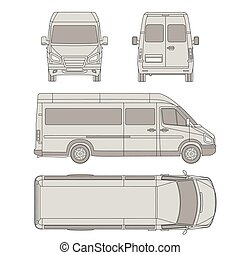 Vector car two view front and back vector business car vector car template commercial vehicle delivery van blueprint drawing proection all malvernweather Image collections