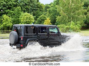 car, tentando, dirigir, contra, inundação, rua, em, gdansk,...