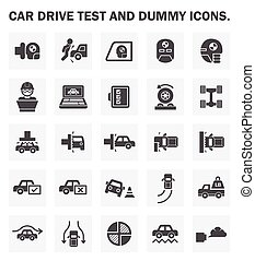 Car test icon - Car drive test and dummy icons sets.