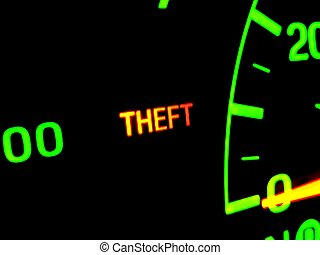 Car Theft - A dashboard shows the theft button light up.