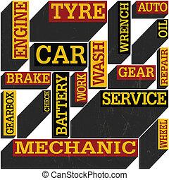 Car themed seamless retro background, vector