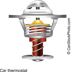 Car thermostat graphic Illustration 3D. Part of engine.