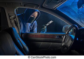 Car thief break in
