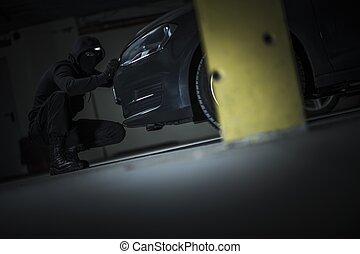 Car Thief Opening Hood