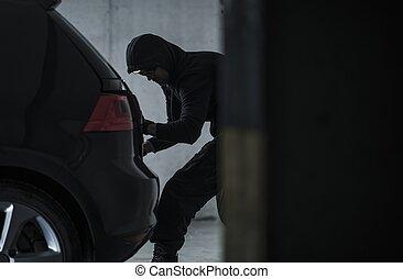 Car Thief Stealing Vehicle