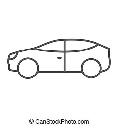 Car thin line icon, auto and transport, automobile sign, vector graphics, a linear pattern on a white background.