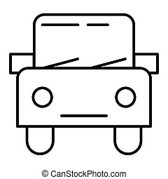 Car thin line icon. Automobile vector illustration isolated on white. Square auto outline style design, designed for web and app. Eps 10.