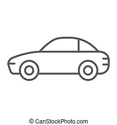 Car thin line icon, traffic and vehicle, automobile sign, vector graphics, a linear pattern on a white background.