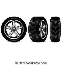 Car tire 3 views isolated on white vector illustration