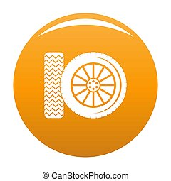 Car tire icon orange