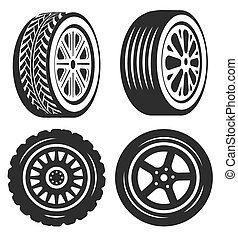 Car tire isolated icons, bike or automobile part