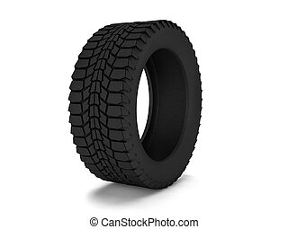Car tire isolated on white background. 3D