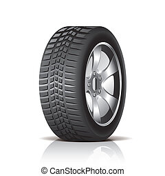 Car tire isolated on white photo-realistic vector illustration