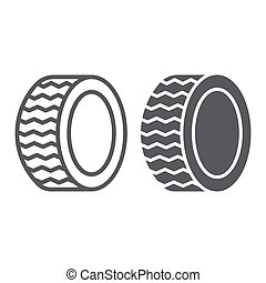 Car tire line and glyph icon, auto and part, wheel sign, vector graphics, a linear pattern on a white background.