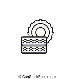 Car tire linear icon concept. Car tire line vector sign, symbol, illustration.
