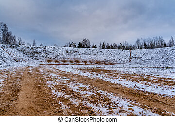 Car Tire Marks on an Empty Field Covered With Snow, Wood in the Background - Cloudy Day