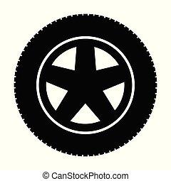 Car tire on an alloy wheel