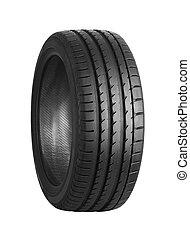 Car tire on white