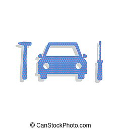 Car tire repair service sign. Vector. Neon blue icon with cyclam