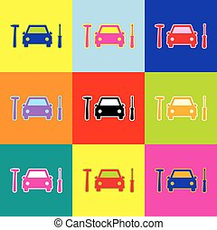 Car tire repair service sign. Vector. Pop-art style colorful icons set with 3 colors.