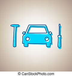 Car tire repair service sign. Vector. Sky blue icon with defected blue contour on beige background.