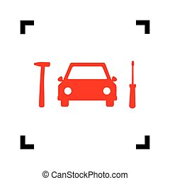 Car tire repair service sign. Vector. Red icon inside black focus corners on white background. Isolated.