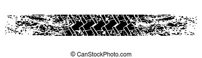 Car tire track, grunge texture. Vector illustration