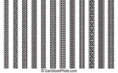 Car tire tracks. Automobile tires tread tracks, tire texture treads, vehicle tire marks isolated symbols illustration set