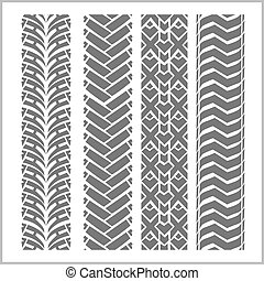 Car tire tracks with grunge on white background