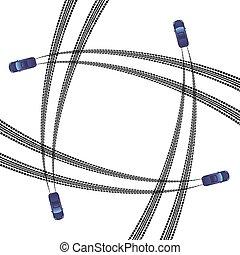 Car tire tracks square