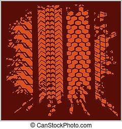 Car tire tracks with grunge on dark background