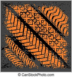 Car tire tracks with grunge