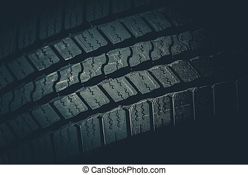 Car Tire Tread Closeup Photo. Brand New Vehicle Tire