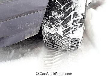 car tire tread in snow