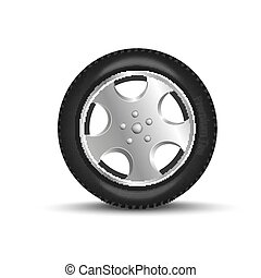 Car tire with a disk on a transparent background. Vector illustration