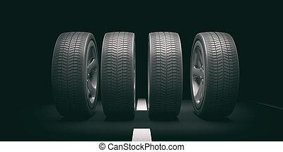 Car tires and rims on black background. 3d illustration