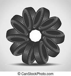 Car tires arranged in a circle