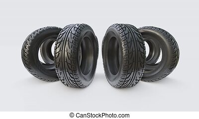 Car tires concept. Turntable 3D illustration video on gray...