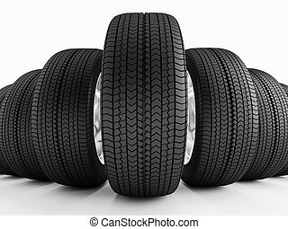 Car tires in a row - New black tires. Imitation wide-angle...
