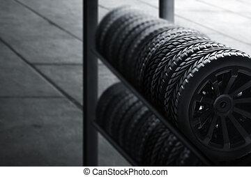 Car tires in automobile shop