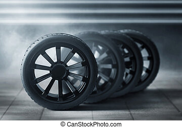 Car tires in the garage