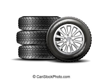 Car tires isolated on white background