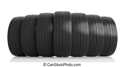 Car tires on white background. 3d illustration