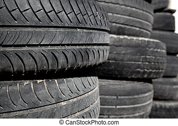 car tires pneus stacked in rows - car tires used pneus ...