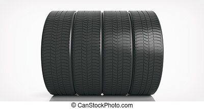 Car tires set on white background. 3d illustration