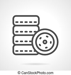 Car tires simple line vector icon