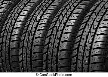 car tires - close view of rubber car tires