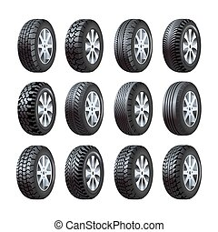 Car tires vector 3d isolated icons with tread pattern